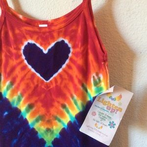 Love Tye Dye Heart Girls 6-8 hippie Tank Top